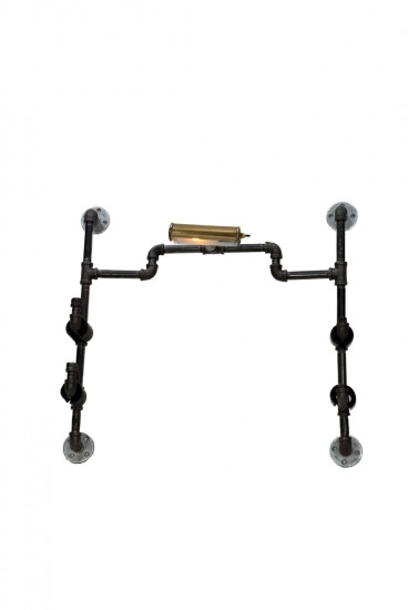 Unique industrial gun rack, wall mounted, steam punk gun rack, with light