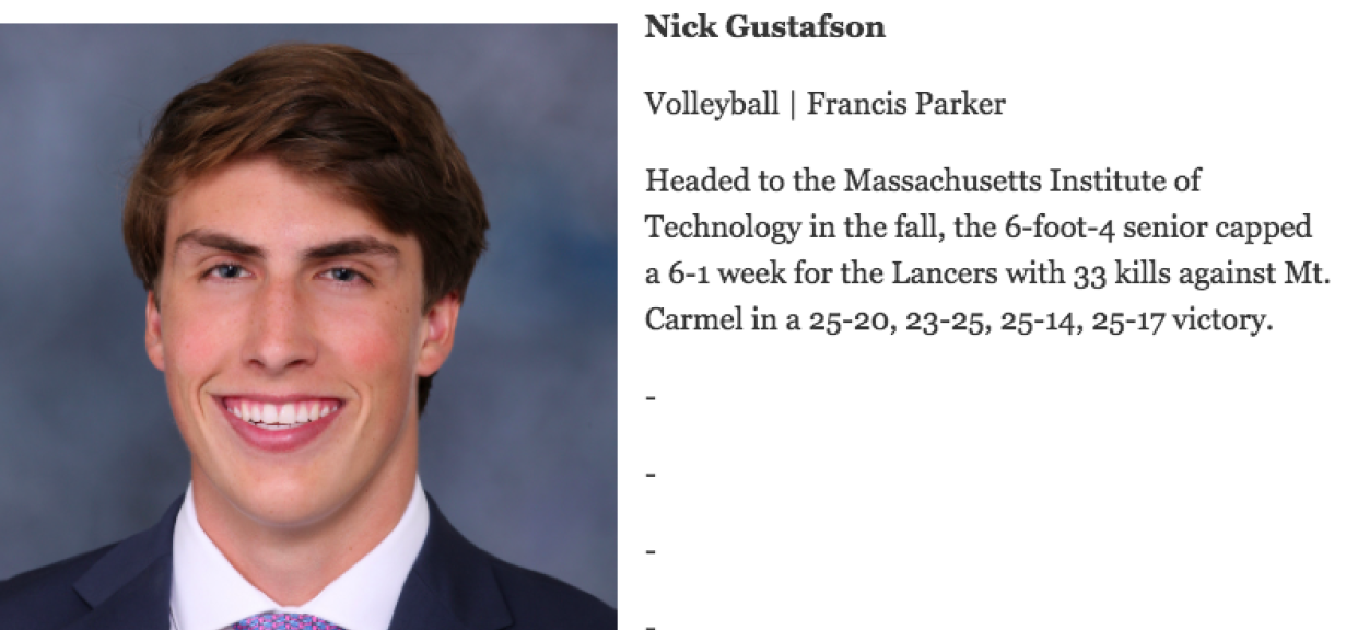 2 Athlete of the Week Honors for Nick Gustafson