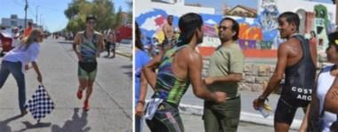 La intendente Rossana Artero le baja la bandera al vencedor, Junior Mansilla. Tras la llegada se desató la pelea. Se lo acusaba a Jorge Costa de un hecho antideportivo en la carrera.