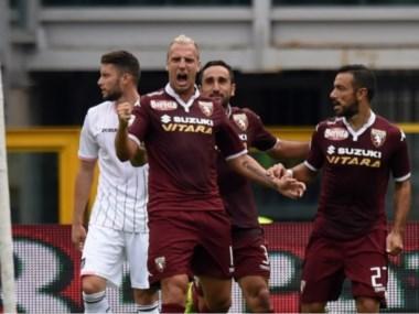 Maxi festeja su gol. Carpi logró su primera victoria en Serie A.