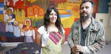 """Homenaje a la colonia galesa. """"Dejamos una obra de calidad"""", dijo la autora Melina Ruiz. Junto a ella trabajaron Alejandra y Cristian (foto)."""