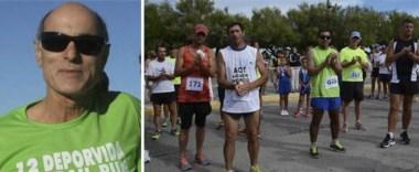 Néstor Paz. Falleció instantes antes de que comenzará la prueba. Tras conocerse la noticia del fallecimiento, los atletas presentes rinden homenaje a Paz, un veterano atleta de la región.