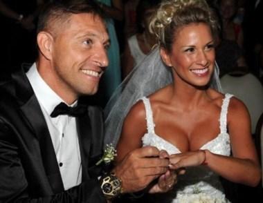 Pitana se casó el domingo con la modelo Romina Ortega.