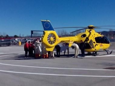 lonso sufre un accidente y es trasladado al hospital en helicóptero.