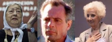Protagonistas. Desde la izquierda, Hebe de Bonafini, de Abuelas de Plaza de Mayo; el forense Daniel Roo y Estela de Carlotto, de Abuelas.