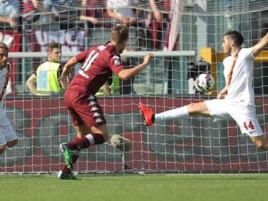 El toque de Maxi en el gol para quitarle de la boca el triunfo a la Roma.