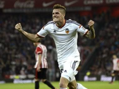 Rodrigo De Paul anotó el tanto con el que el Valencia igualó con el Bilbao.