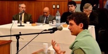 Martín Demichelis en el preciso momento de prestar declaración ante el Tribunal de enjuiciamiento.