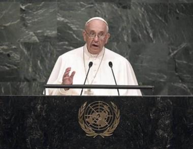 Francisco durante su visista a la sede de las Naciones Unidas en 2015.