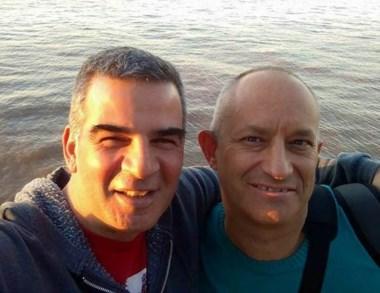 Amistad. Christian (izquierda) y Claudio, en una postal patagónica.