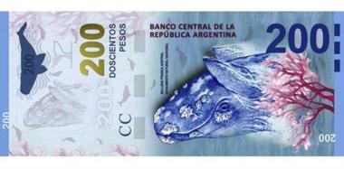 La ballena franca austral, nativa de los mares patagónicos, será la imagen de los nuevos billetes de 200 pesos que circularán a mediados de año.