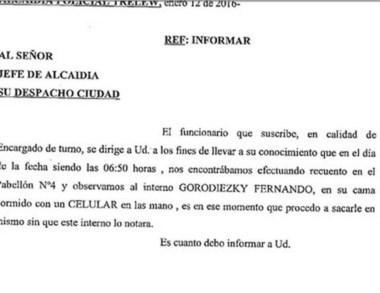 El informe policial que dio cuenta del secuestro mientras dormía.