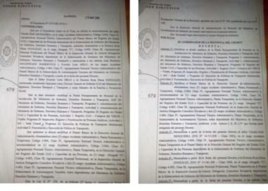 Adentro. Copias del decreto que incorporó a los tres funcionarios al plantel de empleados públicos, y que la gestión actual anulará.