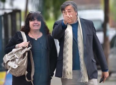 El momento capta la advertencia del marido de Dufour a Daniel Feldman en el ingreso a la Oficina Judicial.
