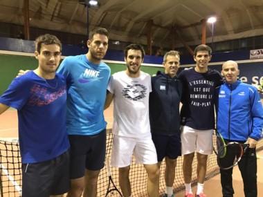 El equipo argentino de Copa Davis: Guido Pella, Del Potro, Leonardo Mayer, Daniel Orsanic (capitán), Federico Delbonis.