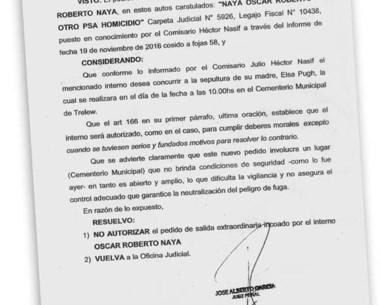 Facsímil de la resolución de José García, negando la salida a Naya.