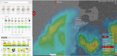 El portal Windity y su proyección de las lluvias que llegarán este lunes a casi toda la provincia.