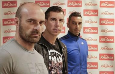 Gastón Esmerado, Alejandro Limia y Santiago Montanari, el día que visitaron Jornada. Se definió que no continuarán en Guillermo Brown.