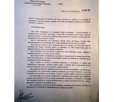 Decisión. Una postal de la resolución que limita los sepelios en el PN.