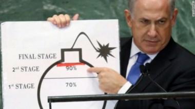 """Netanyahu, en su inolvidable """"denuncia"""" en la ONU de la bomba iraní."""