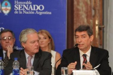 El candidato a la Corte junto al titular de la Cámara alta Federico Pinedo.