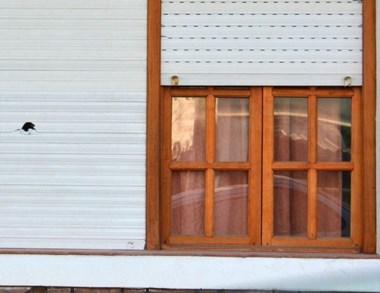 La bengala causó daños en la persiana de plástico y en el interior.