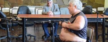 """Últimas palabras. Eduardo Baltazar """"Lalo"""" Quiroga, el día que pudo decir lo suyo ante el tribunal, en el juicio que se realizó en el Casino de Oficiales de la Unidad 6 de Rawson."""