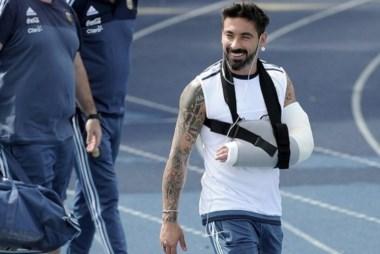 Lavezzi será operado mañana de la fractura en el codo izquierdo.