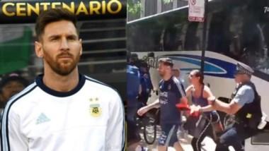 Una mexicana se abalanza sobre Messi e interviene la policía.