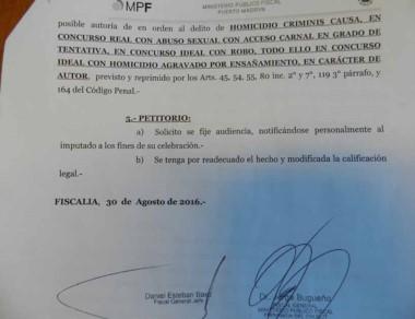 El petitorio de la Fiscalía solicitando el cambio de carátula del caso.