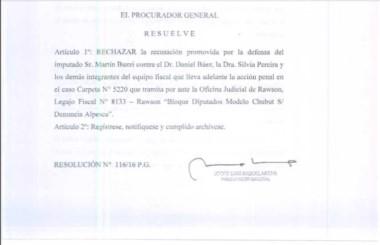 Imágen de la resolución del Procurador