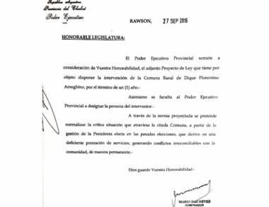 Facsímil del proyecto de ley firmado por el gobernador Das Neves.