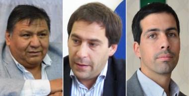 """Trío. Desde la izquierda, el """"Loma"""" Ávila, Juan Pablo Luque y Ezequiel Cufré, en la grilla de largada."""