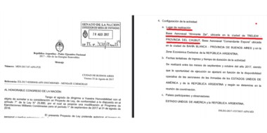 """EE.UU. La copia del proyecto que aprobó el Senado y que acerca a los """"marines""""a la Base Zar de Trelew."""