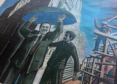El General y el movimiento obrero, en una de las obras del artista Daniel Santoro.