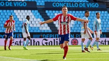 Atlético Madrid de Cholo Simeone venció 1-0 a Celta como visitante y escaló al tercer lugar, al menos, por un rato.