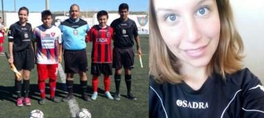 Victoria Ley, en compañía de Víctor Manosalva, juez del encuentro, y Nicolás Molina, el otro asistente.