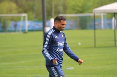 El chubutense Gabriel Mercado fue titular en la práctica del combinado albiceleste.