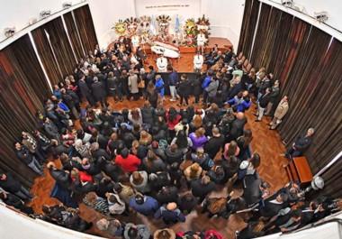 Postal de despedida. El Salón donde el mandatario fue figura central de tantos actos públicos, ayer se convirtió en el espacio para su despedida.