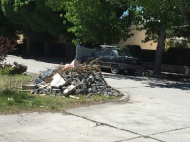 Escombros y restos de poda permanecen tirados en la rotonda