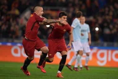 Diego Perotti brilló con un gol y una asistencia en el Derby de la capital italiana.
