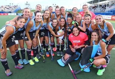 Las Leonas festejan el 5° Puesto obtenido esta madruga en Nueva Zelanda tras golear a Alemania.