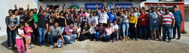 """Casa de """"Chubut Primero"""". Maderna, Mac Karthy y los militantes durante la apertura de la casa peronista en Camarones."""