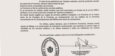 Respuesta. La nota del jefe de gabinete que deja en claro la posición de Fontana 50 sobre varios de las quejas de las empresas de servicios.