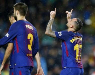 Con goles de Alcacer, Denis, Arnaiz, Vidal y Piqué, Barcelona aplastó a Murcia.