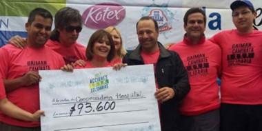 La Anónima entregó un cheque simbólico por más de 93.000 pesos a la Cooperadora del Hospital gaimense.