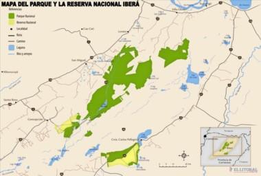 La ubicación del Parque en territorio correntino (imagen diario El Litoral).