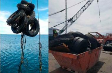 Basura. Dos postales de lo que se saca del fondo marino y que perjudica la actividad portuaria en Madryn.