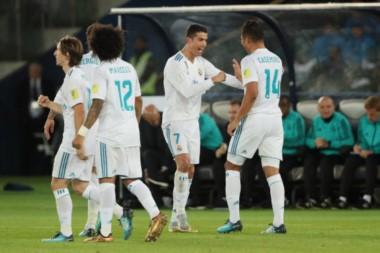 El astro portugués festeja el gol que le dio un nuevo título al club español.