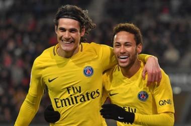 Cavani (1) y Neymar (2) marcaron en la goleada del PSG.